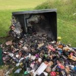 Play area bin tipped over