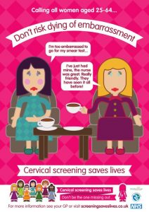 Don't risk dying of embarrassment poster - Cervical screening