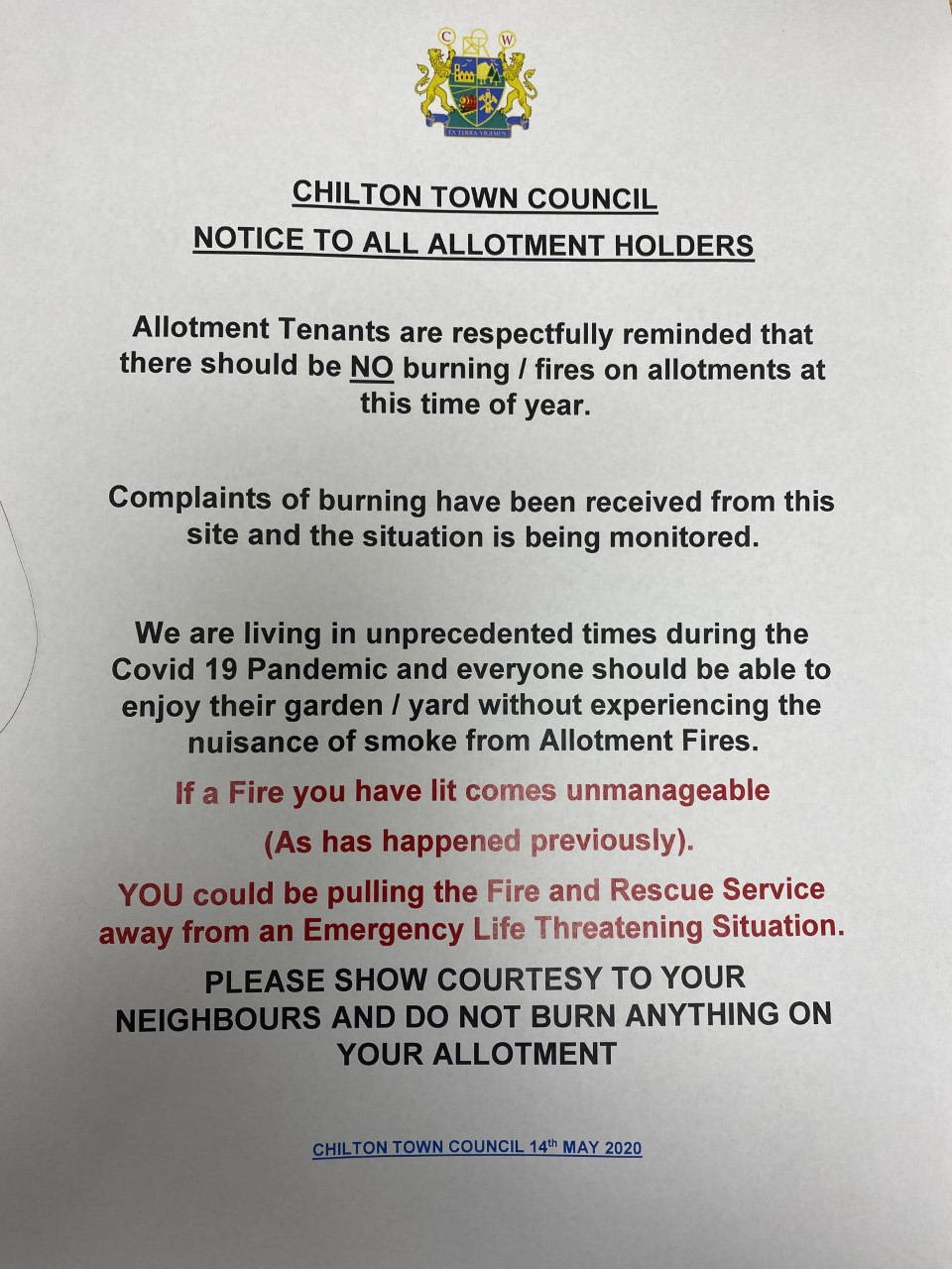 Council notice to allotment holders