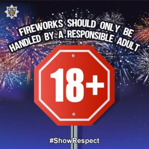 Fireworks are for 18+ only poster